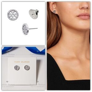 Tory Burch Crystal Circle Logo Stud Earrings